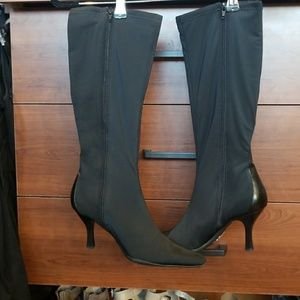 Black stretch and leather detail boots